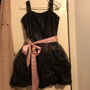 Black embellished dress with satin ribbon tie